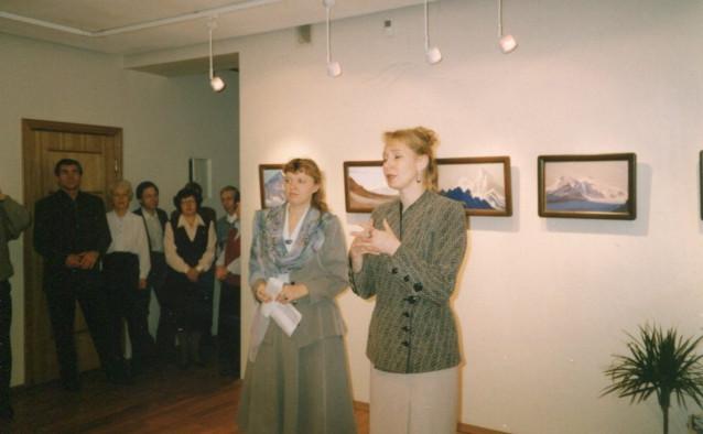 Галыгина О.М. и Кулакова Е.С. открывают выставку картин Н.К.Рериха в галерее Сибирское искусство